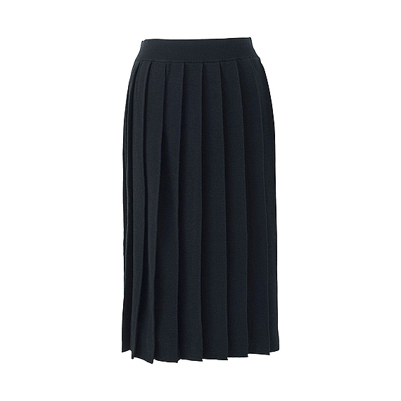 Women Merino Wool Blend Pleated Skirt Black - pattern: plain; fit: body skimming; style: pleated; waist: mid/regular rise; predominant colour: navy; occasions: work; length: on the knee; fibres: wool - mix; texture group: knits/crochet; pattern type: fabric; wardrobe: basic; season: a/w 2016
