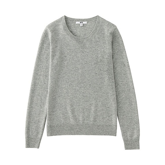 Women 100% Cashmere Crew Neck Sweater Light Gray - pattern: plain; style: standard; predominant colour: mid grey; occasions: casual; length: standard; fit: standard fit; neckline: crew; fibres: cashmere - 100%; sleeve length: long sleeve; sleeve style: standard; texture group: knits/crochet; pattern type: fabric; wardrobe: investment; season: a/w 2016