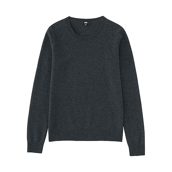 Women 100% Cashmere Crew Neck Sweater Dark Gray - pattern: plain; style: standard; predominant colour: charcoal; occasions: casual; length: standard; fit: standard fit; neckline: crew; fibres: cashmere - 100%; sleeve length: long sleeve; sleeve style: standard; texture group: knits/crochet; pattern type: fabric; wardrobe: investment; season: a/w 2016