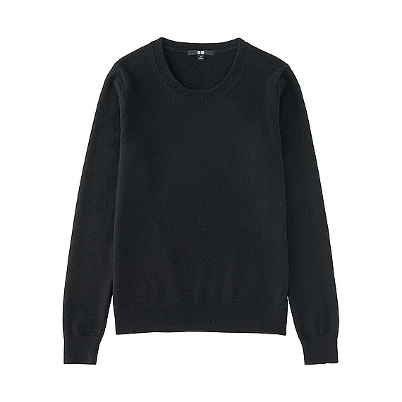 Women 100% Cashmere Crew Neck Sweater Black - pattern: plain; style: standard; predominant colour: black; occasions: casual; length: standard; fit: standard fit; neckline: crew; fibres: cashmere - 100%; sleeve length: long sleeve; sleeve style: standard; texture group: knits/crochet; pattern type: fabric; wardrobe: investment; season: a/w 2016