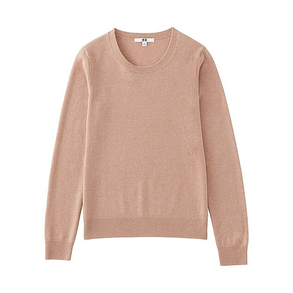 Women 100% Cashmere Crew Neck Sweater Pink - pattern: plain; style: standard; predominant colour: blush; occasions: casual; length: standard; fit: standard fit; neckline: crew; fibres: cashmere - 100%; sleeve length: long sleeve; sleeve style: standard; texture group: knits/crochet; pattern type: fabric; wardrobe: investment; season: a/w 2016