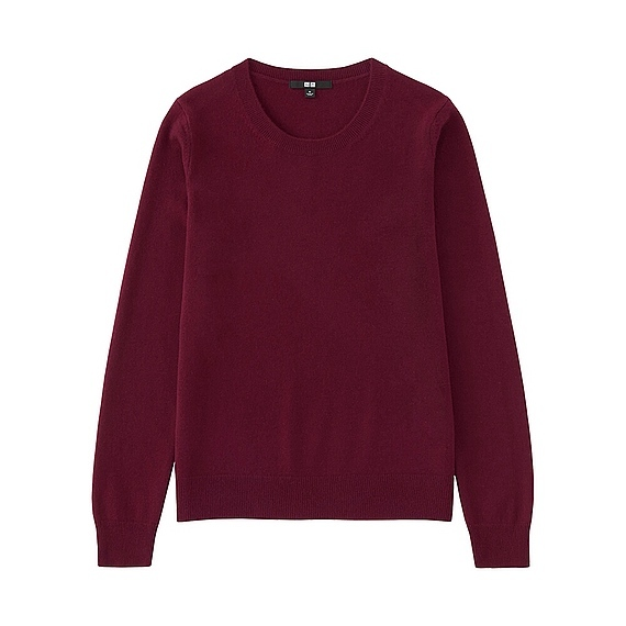 Women 100% Cashmere Crew Neck Sweater Wine - pattern: plain; style: standard; predominant colour: purple; occasions: casual; length: standard; fit: standard fit; neckline: crew; fibres: cashmere - 100%; sleeve length: long sleeve; sleeve style: standard; texture group: knits/crochet; pattern type: fabric; season: a/w 2016; wardrobe: highlight