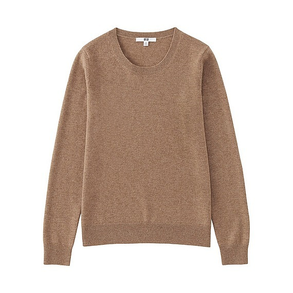 Women 100% Cashmere Crew Neck Sweater Beige - pattern: plain; style: standard; predominant colour: stone; occasions: casual; length: standard; fit: standard fit; neckline: crew; fibres: cashmere - 100%; sleeve length: long sleeve; sleeve style: standard; texture group: knits/crochet; pattern type: fabric; wardrobe: investment; season: a/w 2016