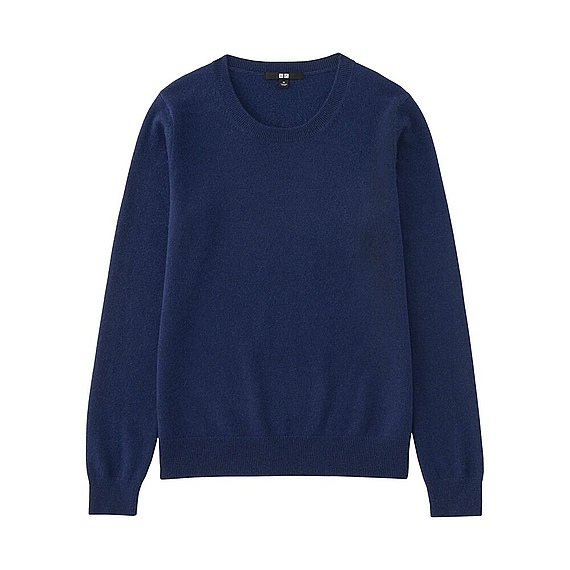 Women 100% Cashmere Crew Neck Sweater Blue - pattern: plain; style: standard; predominant colour: navy; occasions: casual; length: standard; fit: standard fit; neckline: crew; fibres: cashmere - 100%; sleeve length: long sleeve; sleeve style: standard; texture group: knits/crochet; pattern type: fabric; wardrobe: investment; season: a/w 2016