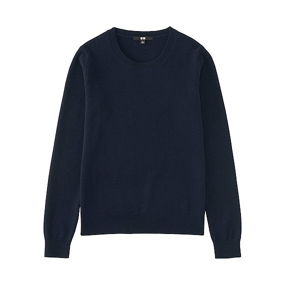 Women 100% Cashmere Crew Neck Sweater Navy - pattern: plain; style: standard; predominant colour: navy; occasions: casual; length: standard; fit: standard fit; neckline: crew; fibres: cashmere - 100%; sleeve length: long sleeve; sleeve style: standard; texture group: knits/crochet; pattern type: fabric; wardrobe: investment; season: a/w 2016