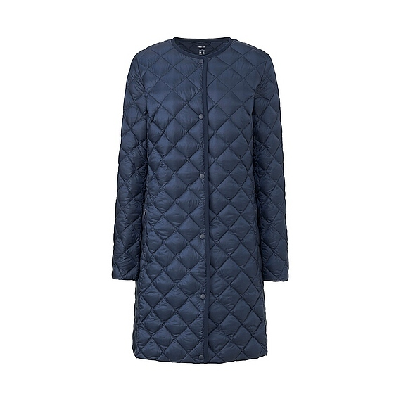 Women Ultra Light Down Compact Coat (4 Colours) Navy - pattern: plain; collar: round collar/collarless; length: mid thigh; predominant colour: navy; occasions: casual; fit: straight cut (boxy); fibres: polyester/polyamide - 100%; sleeve length: long sleeve; sleeve style: standard; texture group: technical outdoor fabrics; collar break: high; pattern type: fabric; style: puffa; embellishment: quilted; season: a/w 2016; wardrobe: highlight; embellishment location: all over