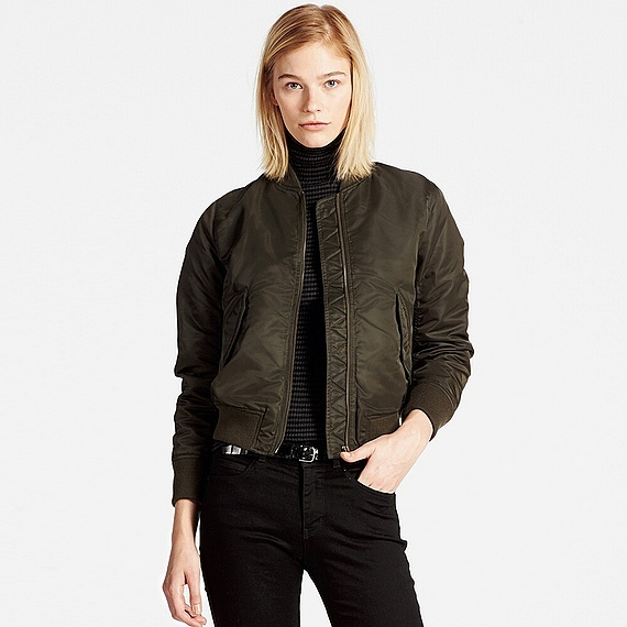 Women Ma 1 Bomber Jacket Olive - pattern: plain; collar: round collar/collarless; fit: slim fit; style: bomber; predominant colour: dark green; occasions: casual; length: standard; fibres: nylon - 100%; sleeve length: long sleeve; sleeve style: standard; collar break: high; pattern type: fabric; texture group: other - light to midweight; season: a/w 2016; wardrobe: highlight