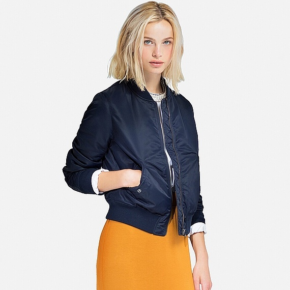 Women Ma 1 Bomber Jacket (5 Colours) Navy - pattern: plain; collar: round collar/collarless; fit: slim fit; style: bomber; predominant colour: navy; occasions: casual; length: standard; fibres: nylon - 100%; sleeve length: long sleeve; sleeve style: standard; collar break: high; pattern type: fabric; texture group: woven light midweight; season: a/w 2016; wardrobe: highlight; embellishment location: bust