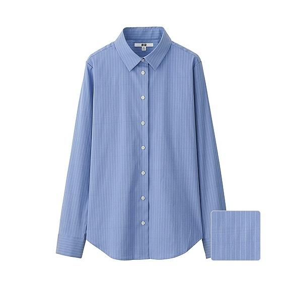 Women Supima Cotton Stretch Striped Long Sleeve Shirt Blue - neckline: shirt collar/peter pan/zip with opening; pattern: plain; length: below the bottom; style: shirt; predominant colour: denim; occasions: casual; fibres: cotton - stretch; fit: body skimming; sleeve length: long sleeve; sleeve style: standard; texture group: cotton feel fabrics; pattern type: fabric; season: a/w 2016; wardrobe: highlight