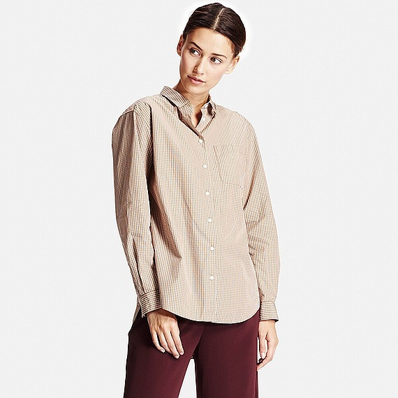Women Extra Fine Cotton Oversized Check Long Sleeve Shirt Beige - neckline: shirt collar/peter pan/zip with opening; pattern: plain; style: shirt; predominant colour: blush; occasions: casual, creative work; length: standard; fibres: cotton - 100%; fit: loose; sleeve length: long sleeve; sleeve style: standard; pattern type: fabric; texture group: woven light midweight; season: a/w 2016