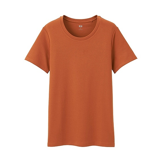 Women Supima Cotton Crew Neck T Shirt (8 Colours) Orange - pattern: plain; style: t-shirt; predominant colour: coral; occasions: casual; length: standard; fibres: cotton - 100%; fit: body skimming; neckline: crew; sleeve length: short sleeve; sleeve style: standard; pattern type: fabric; texture group: jersey - stretchy/drapey; season: a/w 2016; wardrobe: highlight