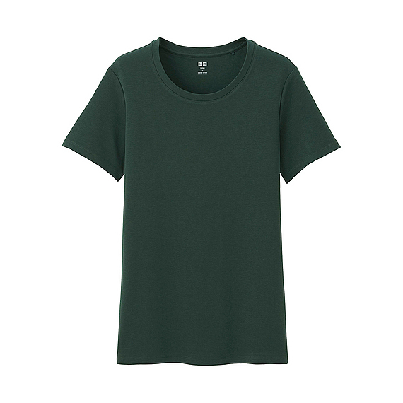 Women Supima Cotton Crew Neck T Shirt (8 Colours) Dark Green - pattern: plain; style: t-shirt; predominant colour: dark green; occasions: casual; length: standard; fibres: cotton - 100%; fit: body skimming; neckline: crew; sleeve length: short sleeve; sleeve style: standard; pattern type: fabric; texture group: jersey - stretchy/drapey; season: a/w 2016; wardrobe: highlight