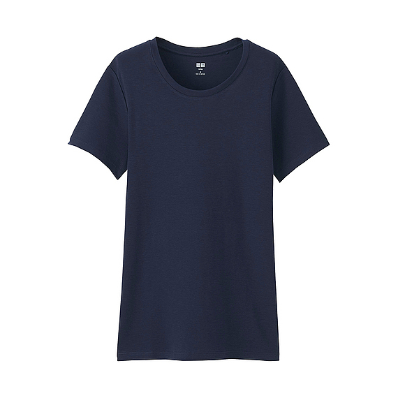 Women Supima Cotton Crew Neck T Shirt (8 Colours) Navy - pattern: plain; style: t-shirt; predominant colour: navy; occasions: casual; length: standard; fibres: cotton - 100%; fit: body skimming; neckline: crew; sleeve length: short sleeve; sleeve style: standard; pattern type: fabric; texture group: jersey - stretchy/drapey; wardrobe: basic; season: a/w 2016