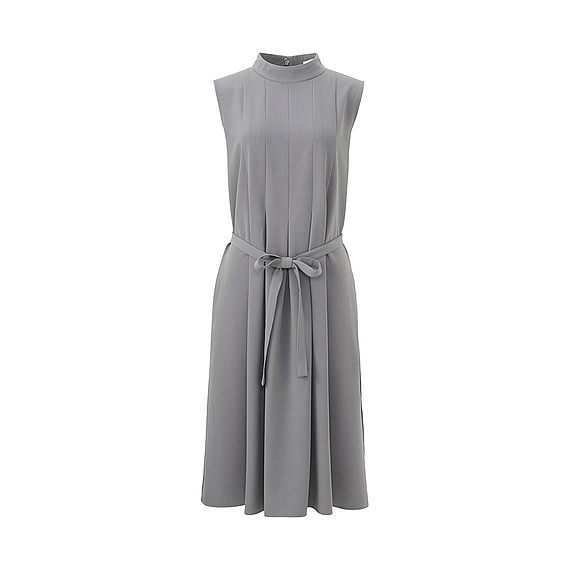 Women Crepe Box Pleated Dress (Size L) Gray - style: shift; pattern: plain; sleeve style: sleeveless; neckline: high neck; waist detail: belted waist/tie at waist/drawstring; predominant colour: light grey; occasions: evening; length: just above the knee; fit: body skimming; fibres: polyester/polyamide - stretch; sleeve length: sleeveless; texture group: crepes; pattern type: fabric; season: a/w 2016; wardrobe: event