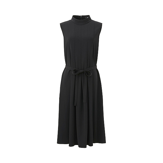 Women Crepe Box Pleated Dress Black - pattern: plain; sleeve style: sleeveless; neckline: high neck; waist detail: belted waist/tie at waist/drawstring; predominant colour: black; occasions: evening; length: on the knee; fit: fitted at waist & bust; style: fit & flare; fibres: polyester/polyamide - stretch; sleeve length: sleeveless; texture group: crepes; pattern type: fabric; season: a/w 2016