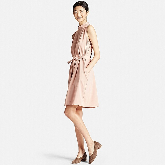 Women Crepe Box Pleated Dress Pink - length: mid thigh; neckline: shirt collar/peter pan/zip with opening; pattern: plain; sleeve style: sleeveless; waist detail: belted waist/tie at waist/drawstring; predominant colour: blush; occasions: casual, creative work; fit: fitted at waist & bust; style: fit & flare; fibres: cotton - 100%; hip detail: adds bulk at the hips; sleeve length: sleeveless; texture group: crepes; pattern type: fabric; wardrobe: basic; season: a/w 2016