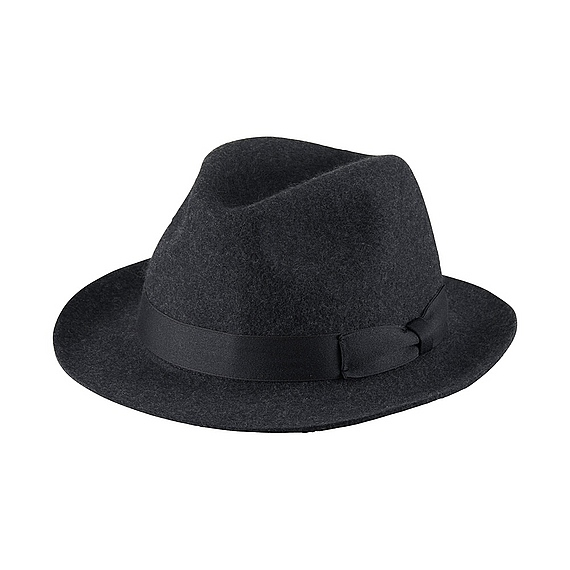 Women Wool Fedora Hat Dark Gray - predominant colour: charcoal; occasions: casual; type of pattern: standard; style: fedora; size: standard; material: felt; pattern: plain; embellishment: bow; season: a/w 2016; wardrobe: highlight