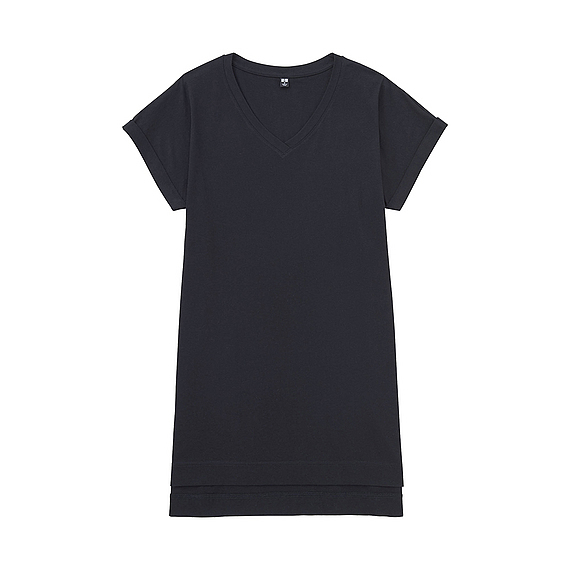 Women V Neck Short Sleeve Long T Shirt Black - neckline: v-neck; pattern: plain; length: below the bottom; style: t-shirt; predominant colour: navy; occasions: casual; fibres: cotton - 100%; fit: loose; sleeve length: short sleeve; sleeve style: standard; pattern type: fabric; pattern size: standard; texture group: jersey - stretchy/drapey; wardrobe: basic; season: a/w 2016
