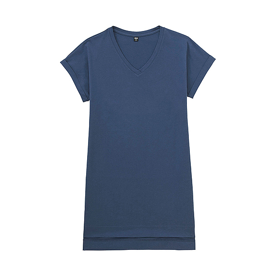 Women V Neck Short Sleeve Long T Shirt Blue - neckline: v-neck; pattern: plain; length: below the bottom; style: t-shirt; predominant colour: royal blue; occasions: casual; fibres: cotton - 100%; fit: loose; sleeve length: short sleeve; sleeve style: standard; pattern type: fabric; pattern size: standard; texture group: jersey - stretchy/drapey; season: a/w 2016