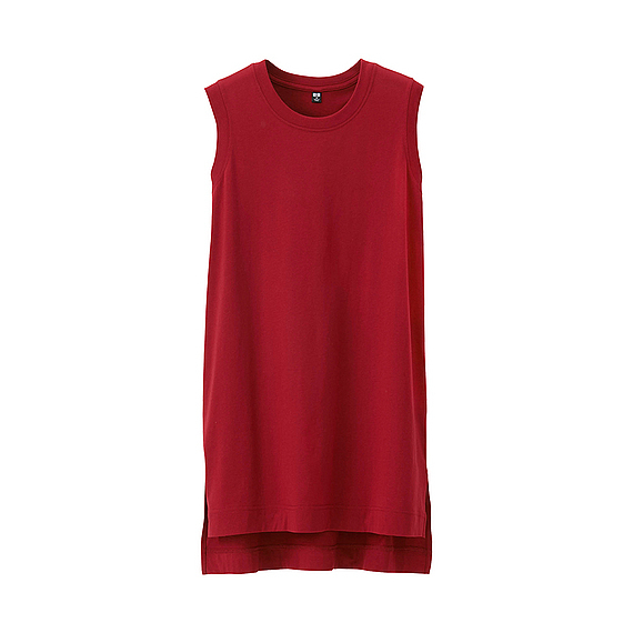 Women Sleeveless Long T Shirt (5 Colours) Red - pattern: plain; sleeve style: sleeveless; length: below the bottom; style: vest top; occasions: casual; fibres: cotton - 100%; fit: loose; neckline: crew; sleeve length: sleeveless; pattern type: fabric; pattern size: standard; texture group: jersey - stretchy/drapey; predominant colour: raspberry; season: a/w 2016