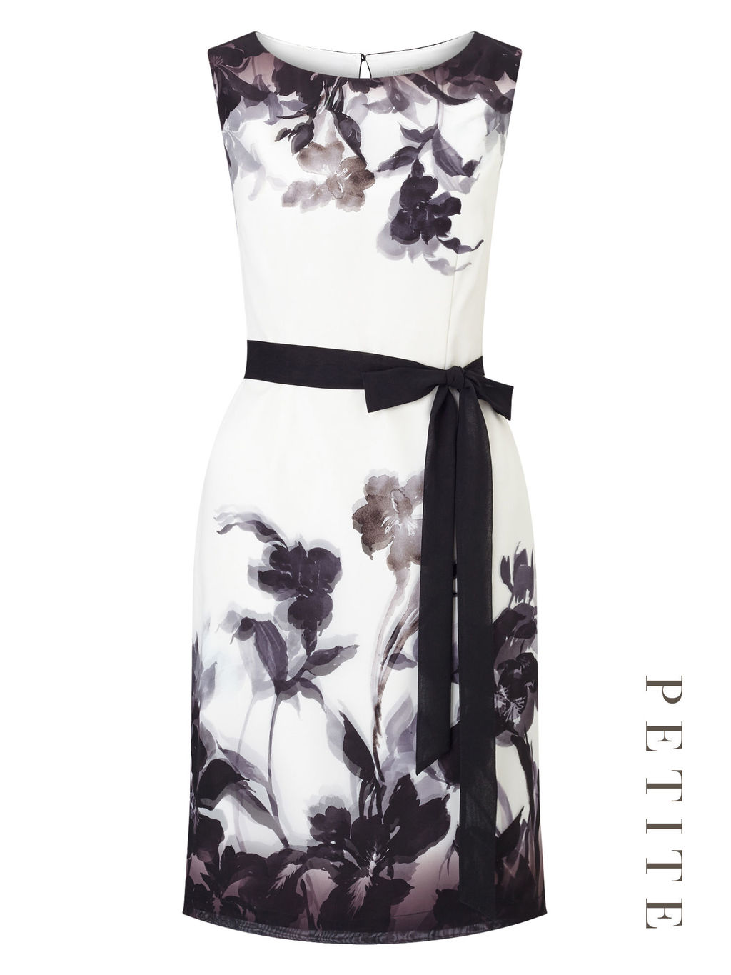Petite Shadow Floral Dress - style: shift; length: mid thigh; neckline: round neck; fit: tailored/fitted; sleeve style: sleeveless; predominant colour: ivory/cream; secondary colour: black; fibres: polyester/polyamide - 100%; occasions: occasion; sleeve length: sleeveless; trends: monochrome; pattern type: fabric; pattern: florals; texture group: woven light midweight; season: a/w 2016; wardrobe: event