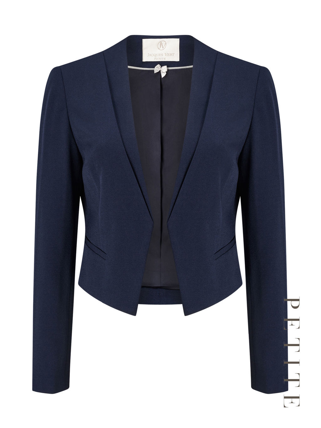 Petite Edge To Edge Jacket - pattern: plain; style: single breasted blazer; collar: standard lapel/rever collar; predominant colour: navy; occasions: work; length: standard; fit: tailored/fitted; fibres: polyester/polyamide - stretch; sleeve length: long sleeve; sleeve style: standard; collar break: low/open; pattern type: fabric; texture group: woven light midweight; wardrobe: investment; season: a/w 2016