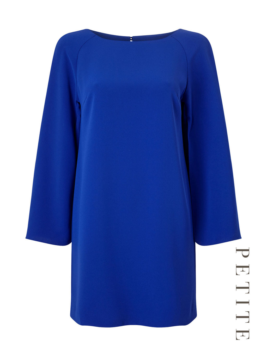 Petite Split Sleeve Tunic - neckline: slash/boat neckline; pattern: plain; style: tunic; predominant colour: royal blue; occasions: casual, work, creative work; fibres: polyester/polyamide - 100%; fit: body skimming; length: mid thigh; sleeve length: 3/4 length; sleeve style: standard; pattern type: fabric; texture group: other - light to midweight; season: a/w 2016; wardrobe: highlight