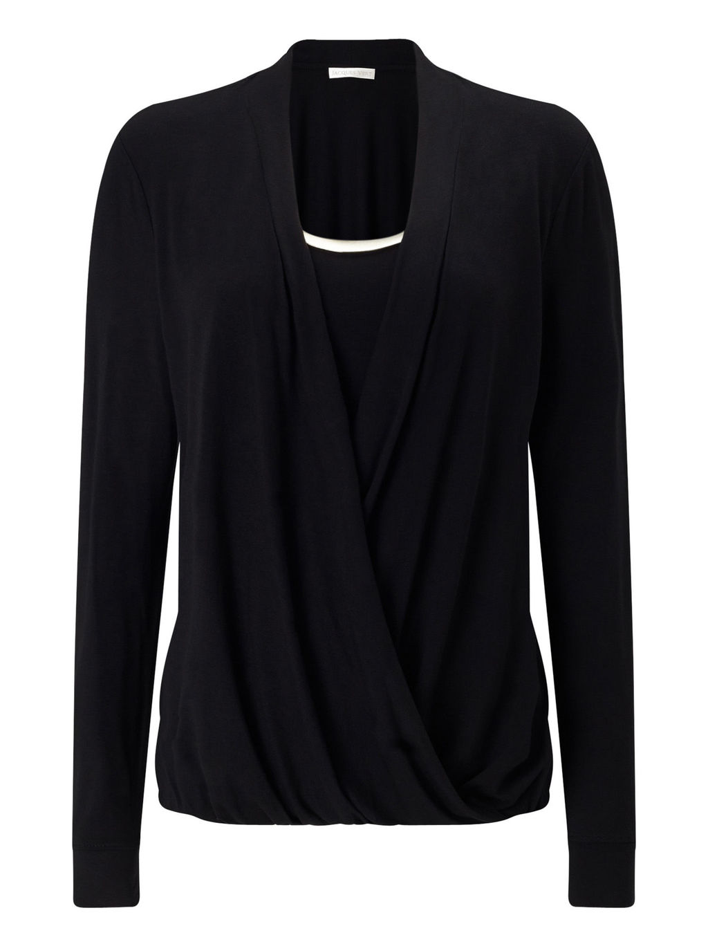 Jersey Drape Trim Top - neckline: cowl/draped neck; pattern: plain; predominant colour: black; occasions: evening, creative work; length: standard; style: top; fibres: polyester/polyamide - stretch; fit: body skimming; sleeve length: long sleeve; sleeve style: standard; pattern type: fabric; pattern size: standard; texture group: jersey - stretchy/drapey; wardrobe: basic; season: a/w 2016