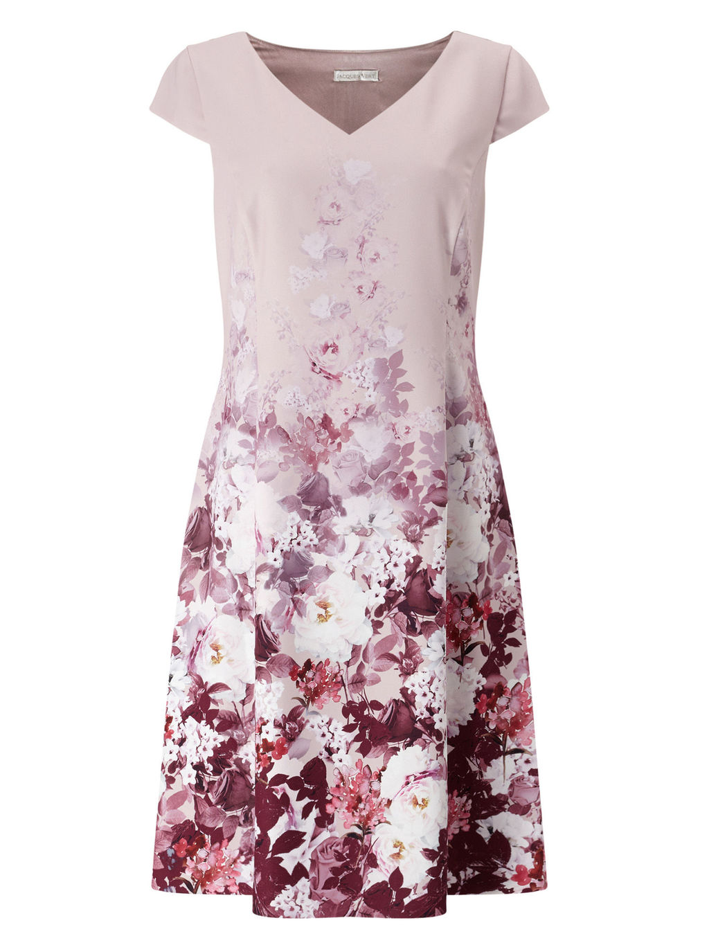 Printed Crepe Dress - length: mid thigh; neckline: v-neck; sleeve style: capped; waist detail: fitted waist; secondary colour: ivory/cream; predominant colour: lilac; fit: fitted at waist & bust; style: fit & flare; fibres: polyester/polyamide - 100%; occasions: occasion; hip detail: subtle/flattering hip detail; sleeve length: short sleeve; texture group: crepes; pattern type: fabric; pattern size: big & busy; pattern: florals; multicoloured: multicoloured; season: a/w 2016; wardrobe: event