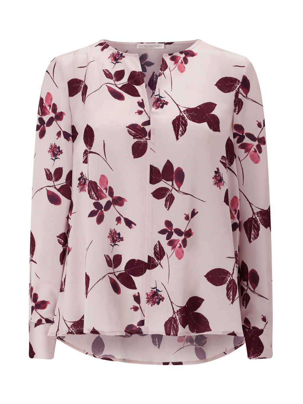 Floral Blouse - neckline: v-neck; style: blouse; predominant colour: blush; secondary colour: purple; length: standard; fibres: polyester/polyamide - 100%; fit: loose; sleeve length: long sleeve; sleeve style: standard; pattern type: fabric; pattern size: standard; pattern: florals; texture group: other - light to midweight; occasions: creative work; multicoloured: multicoloured; season: a/w 2016; wardrobe: highlight