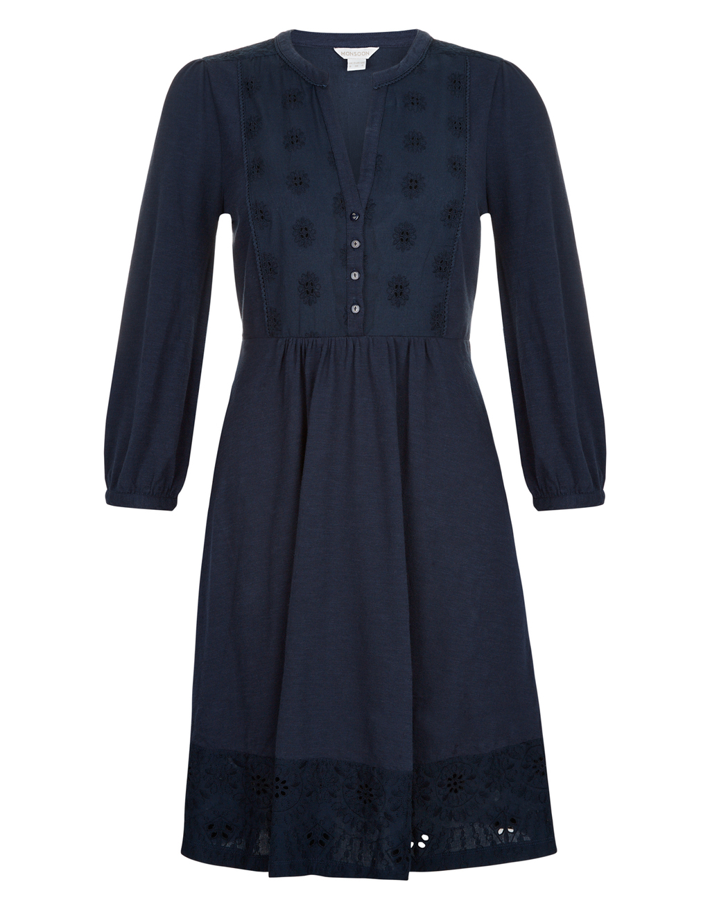 Suki Schiffly Casual Dress - sleeve style: balloon; bust detail: buttons at bust (in middle at breastbone)/zip detail at bust; predominant colour: navy; occasions: casual; length: on the knee; fit: fitted at waist & bust; style: fit & flare; neckline: collarstand & mandarin with v-neck; fibres: cotton - 100%; hip detail: soft pleats at hip/draping at hip/flared at hip; sleeve length: 3/4 length; texture group: cotton feel fabrics; pattern type: fabric; pattern size: standard; pattern: patterned/print; embellishment: embroidered; season: a/w 2016