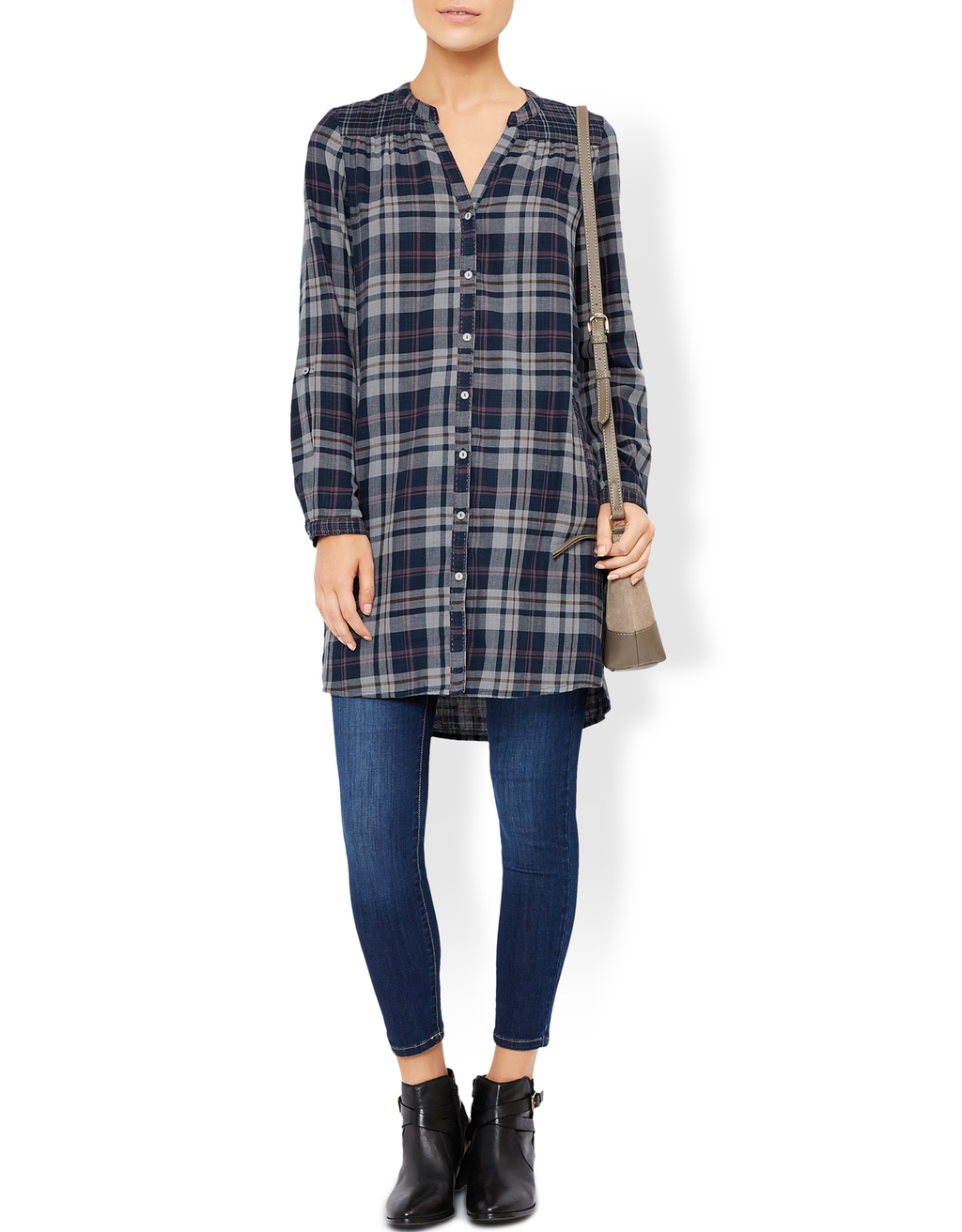 Hope Check Tunic - pattern: checked/gingham; style: tunic; predominant colour: navy; occasions: casual; neckline: collarstand & mandarin with v-neck; fibres: cotton - 100%; fit: loose; length: mid thigh; sleeve length: long sleeve; sleeve style: standard; pattern type: fabric; texture group: jersey - stretchy/drapey; pattern size: big & busy (top); multicoloured: multicoloured; season: a/w 2016; wardrobe: highlight