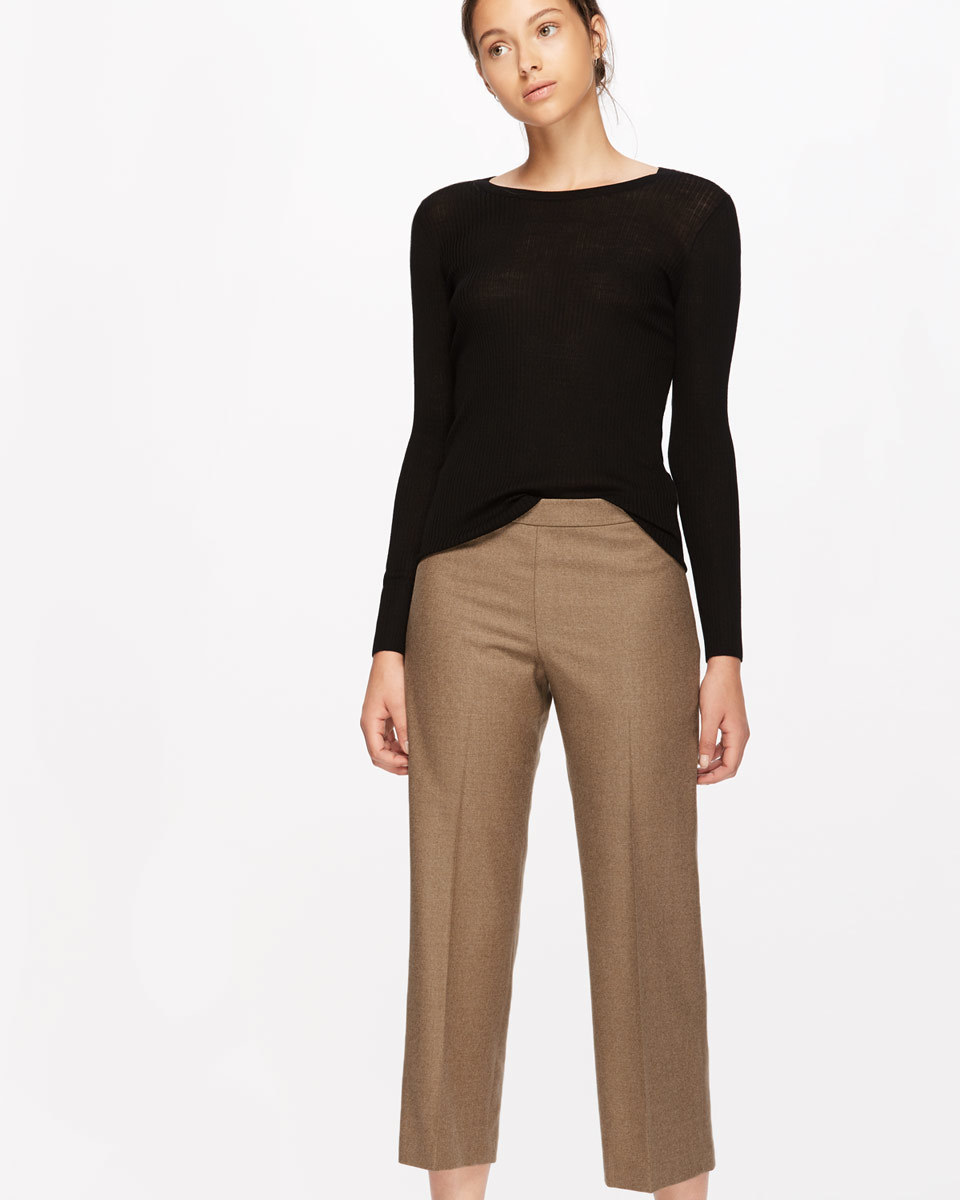 Wool Flannel Crop Trouser - pattern: plain; waist: mid/regular rise; predominant colour: taupe; occasions: casual, creative work; length: calf length; fibres: wool - mix; fit: straight leg; pattern type: fabric; texture group: woven light midweight; style: standard; wardrobe: basic; season: a/w 2016