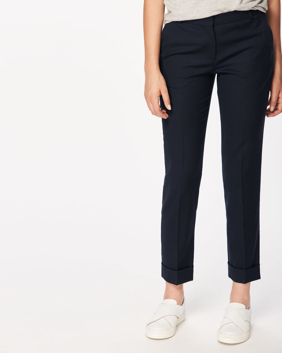 Wool Flannel London Trousers - pattern: plain; waist: mid/regular rise; predominant colour: navy; occasions: work; length: ankle length; fibres: wool - stretch; fit: slim leg; pattern type: fabric; texture group: woven light midweight; style: standard; wardrobe: basic; season: a/w 2016