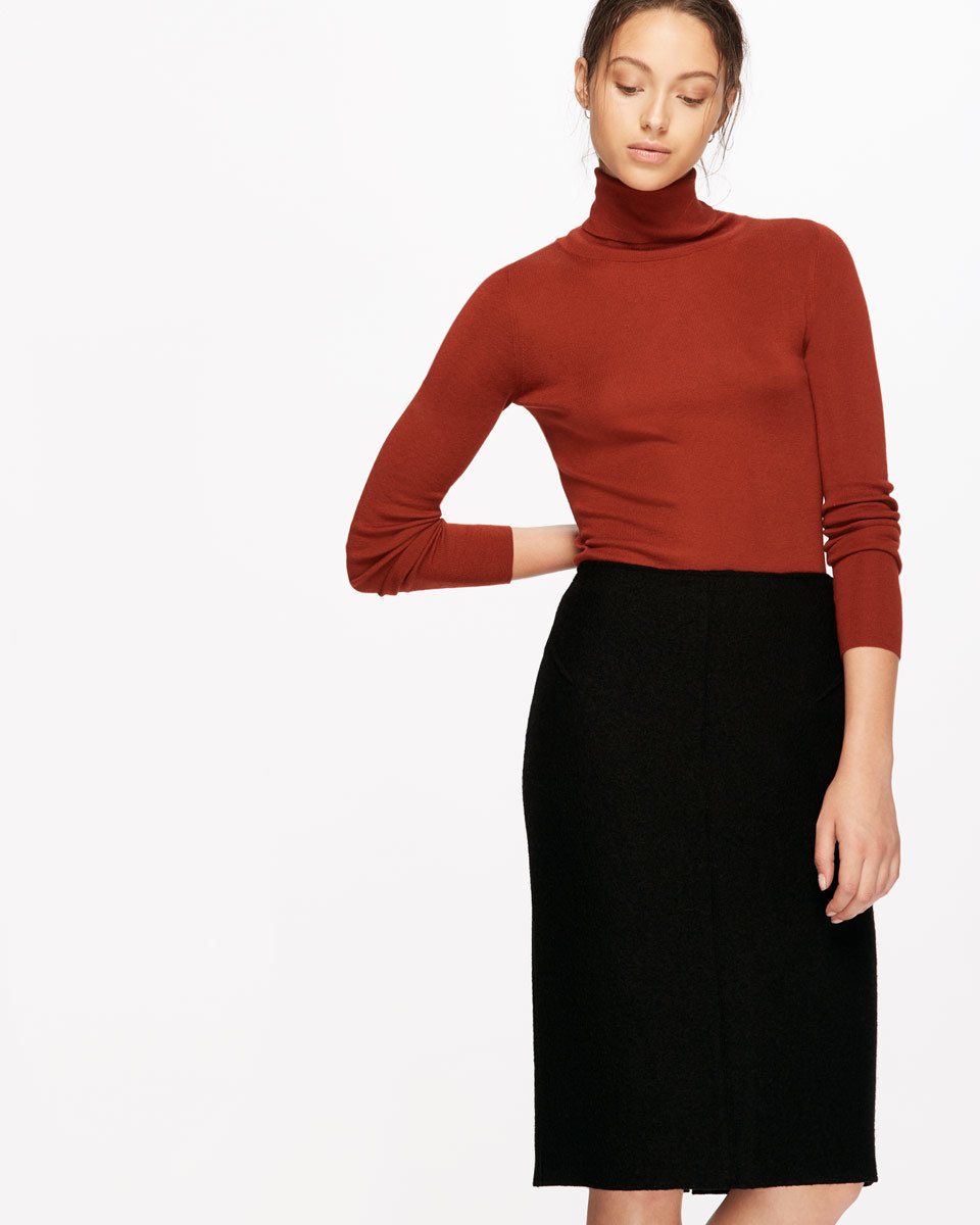 Boiled Wool Pencil Skirt - pattern: plain; style: pencil; fit: tailored/fitted; waist: high rise; hip detail: fitted at hip; predominant colour: black; occasions: work; length: on the knee; fibres: wool - 100%; pattern type: fabric; texture group: woven light midweight; season: a/w 2016