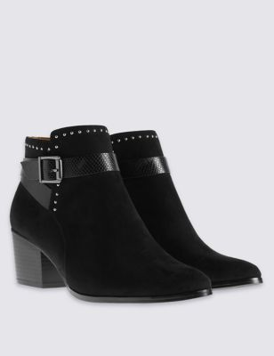Wide Fit Block Heel Stud Ankle Boots - secondary colour: silver; predominant colour: black; occasions: casual, creative work; heel height: mid; embellishment: studs; heel: block; toe: round toe; boot length: ankle boot; style: standard; finish: plain; pattern: plain; material: faux suede; season: a/w 2016; wardrobe: highlight