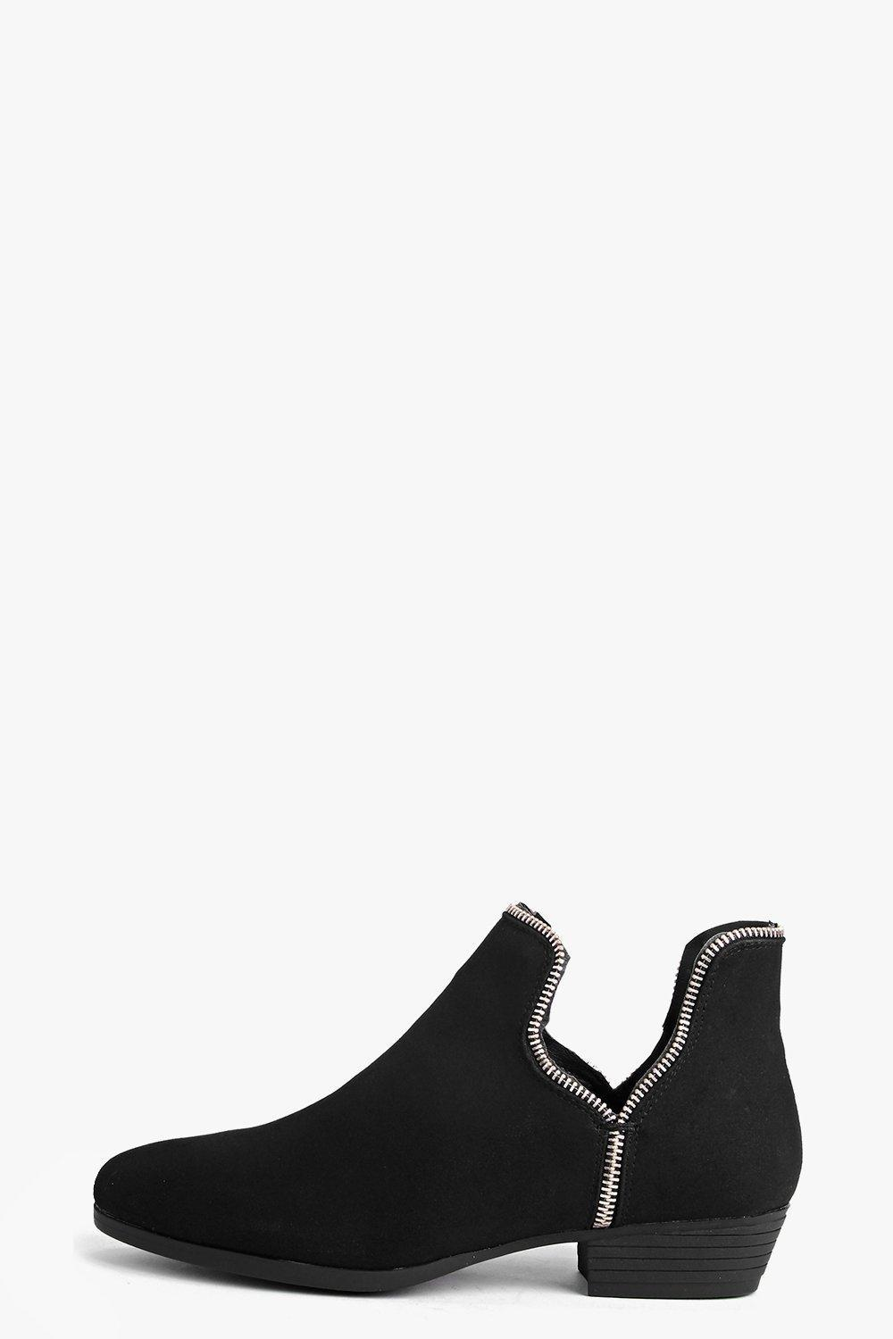 Zip Trim Cut Away Ankle Boot Black - predominant colour: black; occasions: casual, creative work; material: faux leather; heel height: flat; heel: standard; toe: round toe; boot length: ankle boot; style: standard; finish: plain; pattern: plain; wardrobe: basic; season: a/w 2016