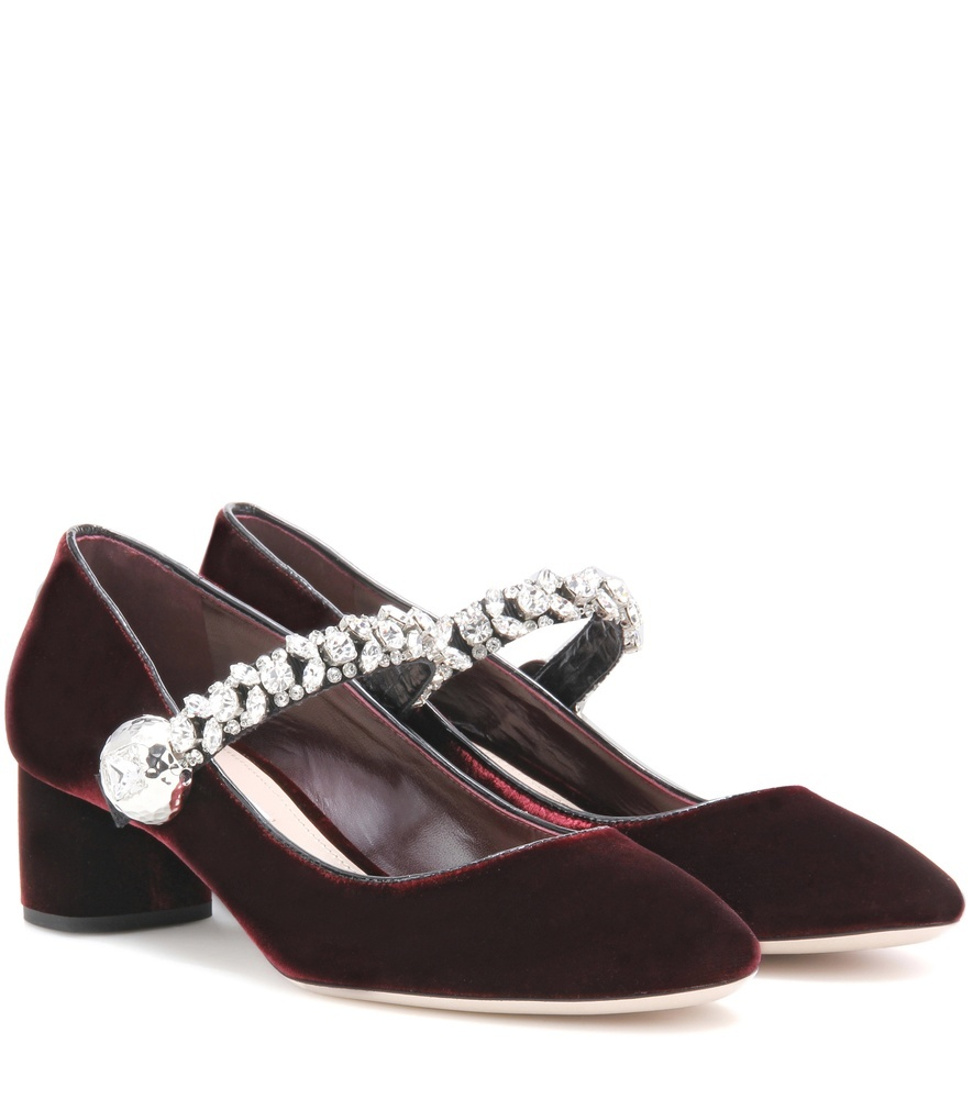 Crystal Embellished Velvet Pumps - predominant colour: burgundy; material: velvet; heel height: mid; embellishment: crystals/glass; heel: block; toe: round toe; style: mary janes; finish: plain; pattern: plain; occasions: creative work; season: a/w 2016; trends: velvet