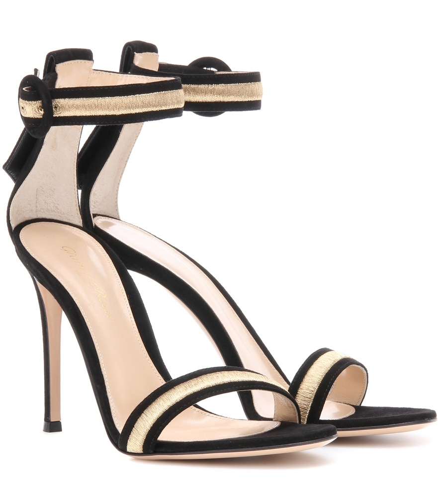 Marshal Embroidered Suede Sandals - predominant colour: ivory/cream; secondary colour: black; occasions: evening, occasion; material: leather; heel height: high; ankle detail: ankle strap; heel: stiletto; toe: open toe/peeptoe; style: strappy; finish: plain; pattern: colourblock; season: a/w 2016; wardrobe: event
