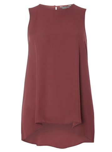 Womens Berry Dip Back Built Up Tee Red - pattern: plain; sleeve style: sleeveless; style: vest top; predominant colour: burgundy; occasions: casual; length: standard; fibres: polyester/polyamide - 100%; fit: body skimming; neckline: crew; sleeve length: sleeveless; texture group: sheer fabrics/chiffon/organza etc.; pattern type: fabric; season: a/w 2016; wardrobe: highlight