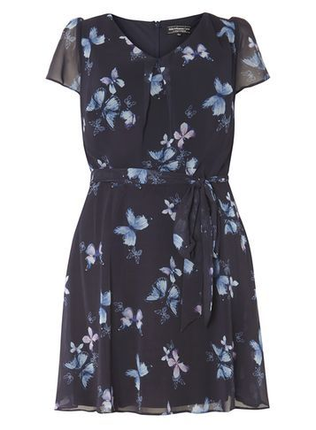 Womens **Billie & Blossom Curve Navy Butterfly Print Dress Navy - length: mid thigh; neckline: v-neck; sleeve style: capped; waist detail: belted waist/tie at waist/drawstring; secondary colour: pale blue; predominant colour: navy; occasions: evening; fit: fitted at waist & bust; style: fit & flare; fibres: polyester/polyamide - 100%; sleeve length: short sleeve; texture group: sheer fabrics/chiffon/organza etc.; pattern type: fabric; pattern: florals; multicoloured: multicoloured; season: a/w 2016; wardrobe: event
