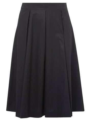 Womens Black Full Skirt Black - length: below the knee; pattern: plain; style: full/prom skirt; fit: loose/voluminous; waist: high rise; predominant colour: black; occasions: work, occasion, creative work; fibres: cotton - 100%; hip detail: soft pleats at hip/draping at hip/flared at hip; texture group: cotton feel fabrics; pattern type: knitted - other; season: a/w 2016