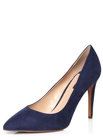 Womens Navy 'emily' Pointed Court Shoes Navy. - predominant colour: navy; occasions: evening, work, occasion; material: suede; heel: stiletto; toe: pointed toe; style: courts; finish: plain; pattern: plain; heel height: very high; season: a/w 2016