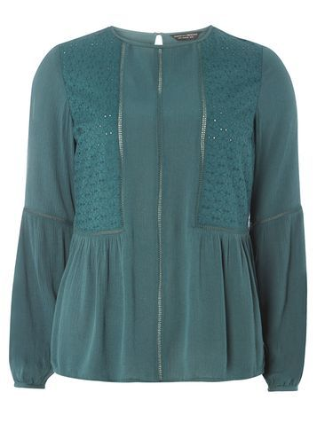 Womens Cedar Broderie Frill Hem Top Green - pattern: plain; style: blouse; predominant colour: teal; occasions: casual, creative work; length: standard; fibres: polyester/polyamide - 100%; fit: straight cut; neckline: crew; sleeve length: long sleeve; sleeve style: standard; texture group: crepes; pattern type: fabric; season: a/w 2016; wardrobe: highlight