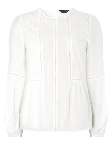 Womens Ivory Broderie Frill Hem Top White - pattern: plain; style: blouse; predominant colour: ivory/cream; occasions: casual, creative work; length: standard; fibres: polyester/polyamide - 100%; fit: straight cut; neckline: crew; sleeve length: long sleeve; sleeve style: standard; texture group: crepes; pattern type: fabric; wardrobe: basic; season: a/w 2016