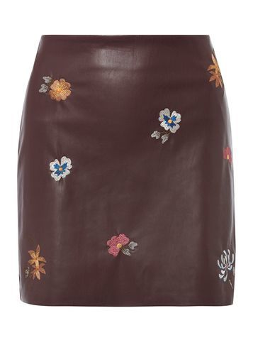 Womens Burgundy Embroidered Pu Skirt Red - length: mini; fit: tailored/fitted; waist: mid/regular rise; predominant colour: burgundy; secondary colour: denim; occasions: evening; style: mini skirt; fibres: polyester/polyamide - 100%; texture group: leather; pattern type: fabric; pattern: florals; embellishment: embroidered; pattern size: standard (bottom); season: a/w 2016