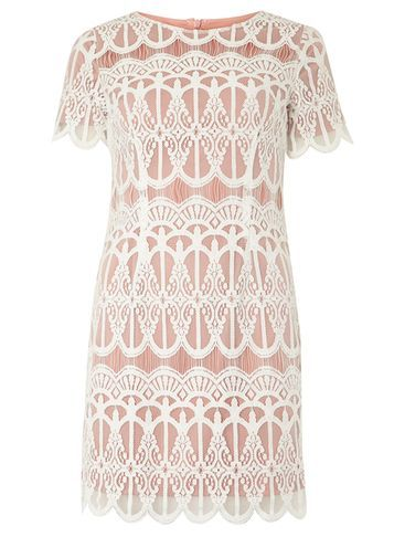 Womens Petite Ivory Lace Pencil Dress Pink - style: shift; length: mini; pattern: plain; secondary colour: white; predominant colour: blush; occasions: evening; fit: body skimming; fibres: cotton - mix; neckline: crew; sleeve length: short sleeve; sleeve style: standard; texture group: lace; pattern type: fabric; multicoloured: multicoloured; season: a/w 2016; wardrobe: event