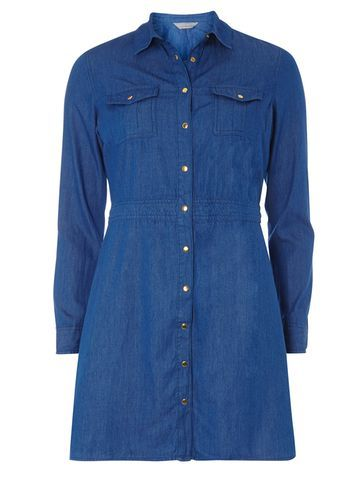Womens Petite 3/4 Sleeve Denim Dress Blue - style: shirt; length: mid thigh; neckline: shirt collar/peter pan/zip with opening; pattern: plain; predominant colour: navy; occasions: casual; fit: body skimming; fibres: cotton - 100%; sleeve length: long sleeve; sleeve style: standard; texture group: denim; pattern type: fabric; wardrobe: basic; season: a/w 2016