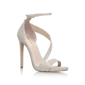 Gosh - predominant colour: silver; occasions: evening, occasion; material: leather; ankle detail: ankle strap; heel: stiletto; toe: open toe/peeptoe; style: strappy; finish: metallic; pattern: plain; heel height: very high; season: a/w 2016; wardrobe: event