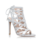 Gracie - predominant colour: silver; occasions: evening, occasion; material: leather; ankle detail: ankle tie; heel: stiletto; toe: open toe/peeptoe; style: strappy; finish: metallic; pattern: plain; heel height: very high; season: a/w 2016; wardrobe: event